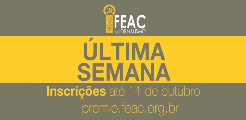 Inscrições para 20º Prêmio Fundação FEAC de Jornalismo encerram-se em 11 de outubro