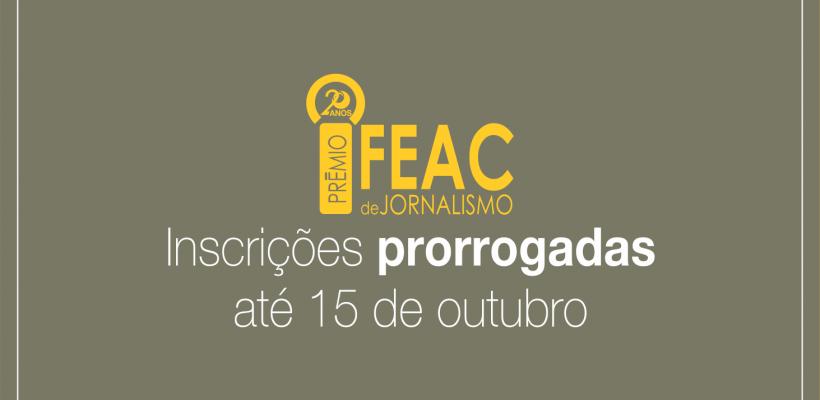 Período de inscrição para 20º Prêmio Fundação FEAC de Jornalismo é prorrogado para 15 de outubro